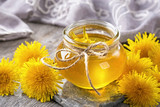 Dandelion honey in a jar