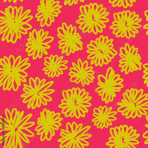 Colorful hand drawn seamless spring yellow flower on the pink background, floral illustration painted by oil color, high quality © Iryna
