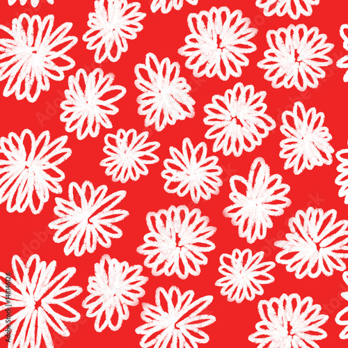 Colorful hand drawn seamless spring white flower on the red background, floral illustration painted by oil color, high quality © Iryna