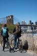 Riding a bike in the Brooklyn bridge