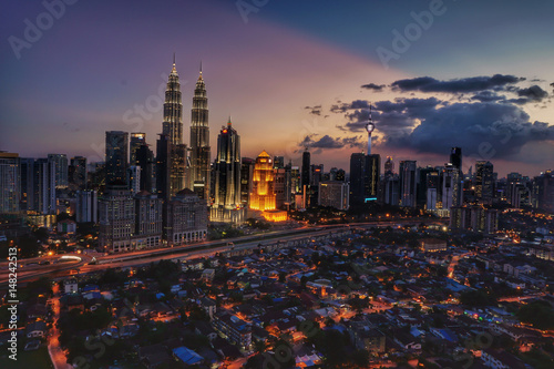 Top view of Kuala Lumper skyline at twilight Poster