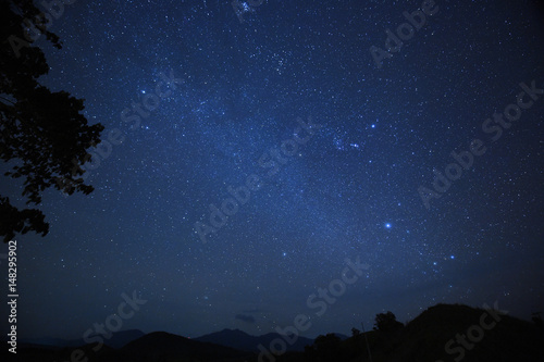 Poster night sky stars with milky way on mountain background.