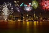 USA Independence Day over Brooklyn Bridge