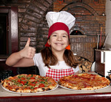 happy little girl cook with pizza and thumb up
