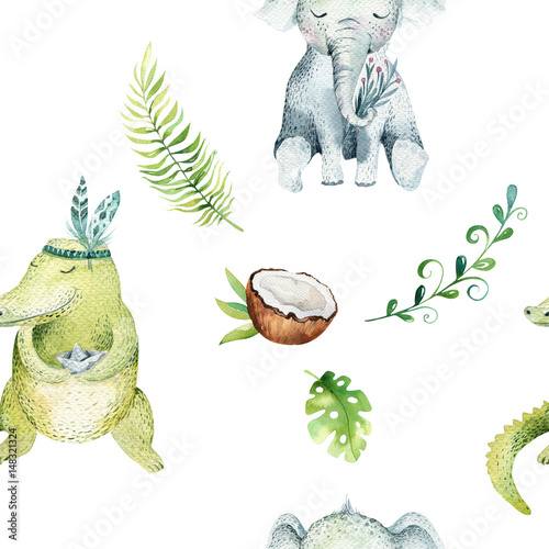 Baby animals nursery isolated seamless pattern. Watercolor boho tropical drawing, child tropical drawing cute crocodile and elephant, tropic green - 148321324