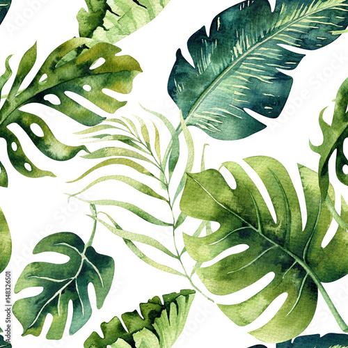 Seamless watercolor pattern of tropical leaves, dense jungle. Ha - 148326501