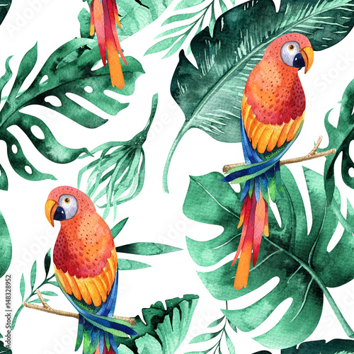 Seamless watercolor pattern of tropical leaves, dense jungle. Ha - 148328952