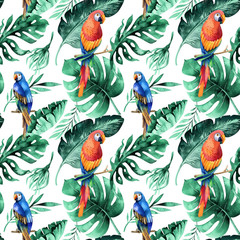 Seamless watercolor pattern of tropical leaves, dense jungle. Ha
