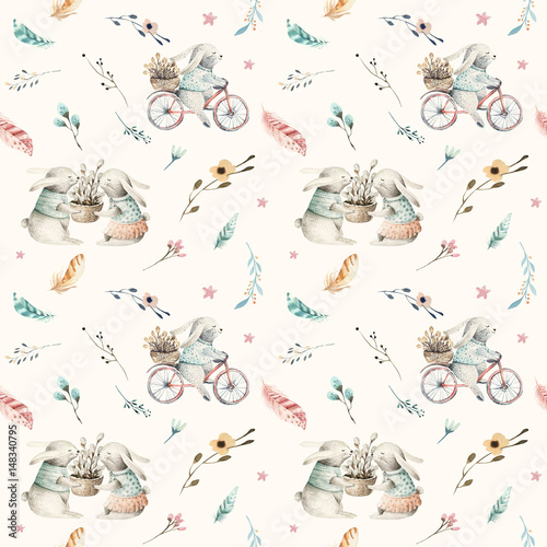Cute baby rabbit animal seamless pattern, forest illustration for children clothing. Woodland watercolor Hand drawn boho image for cases design, nursery posters - 148340795