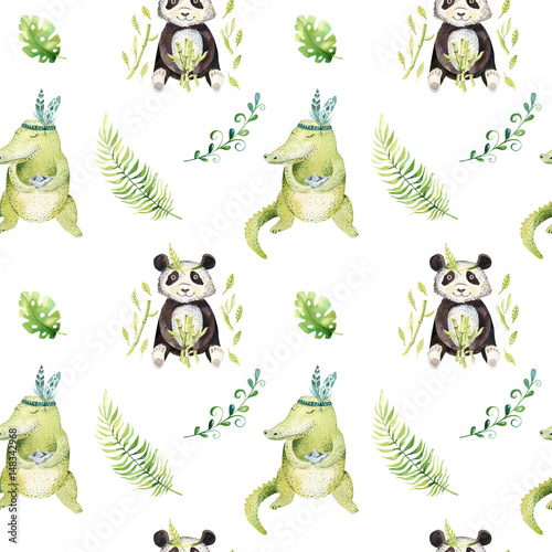 Baby animals nursery isolated seamless pattern. Watercolor boho tropical drawing, child tropical drawing cute crocodile and panda, tropic green - 148342968