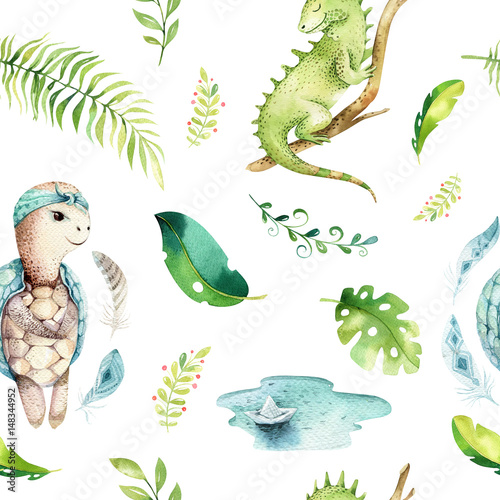 Baby animals nursery isolated seamless pattern. Watercolor boho tropical fabric drawing, child tropical drawing cute iguana, turtle and palm tree, alligator tropic green texture - 148344952