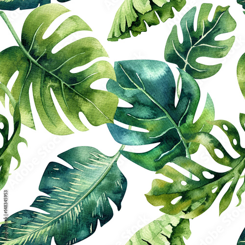 Seamless watercolor pattern of tropical leaves, dense jungle. Ha - 148345953