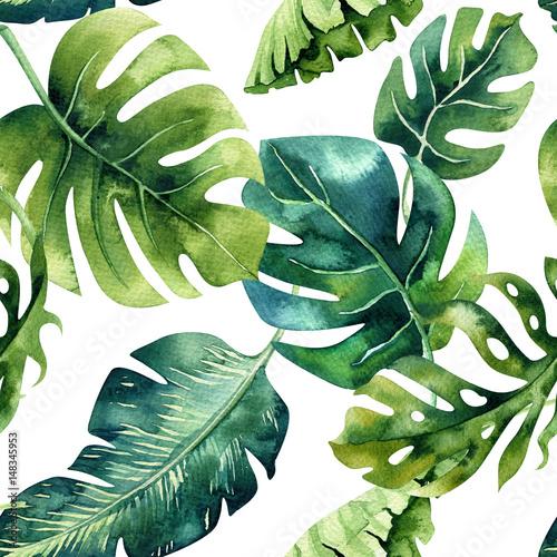 Seamless watercolor pattern of tropical leaves, dense jungle. Ha - 148345953