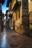 Old city street, stone stairway, flowers. Kaleici, Antalya, Turkey