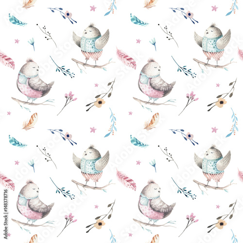 Cute baby bird animal seamless pattern, forest illustration for children clothing. Woodland watercolor Hand drawn boho chiken image for cases design, nursery poster - 148378716