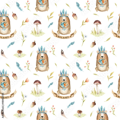 Cute baby bear animal seamless pattern for kindergarten, nursery - 148404736