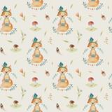 Cute baby foxes animal seamless pattern for kindergarten, nurser