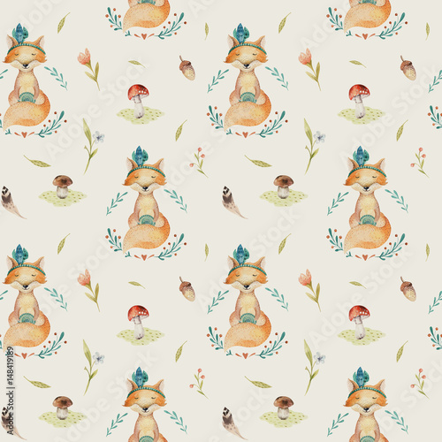 Cute baby foxes animal seamless pattern for kindergarten, nurser - 148419189