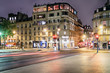 Historical street in the 5th arrondissement of Paris at night, France.
