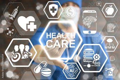 Health Care Innovative Technologies Integrate. Innovation medicine concept. Modern Healthcare innovate information technology integration. Doctor touched icon health care text on virtual screen.