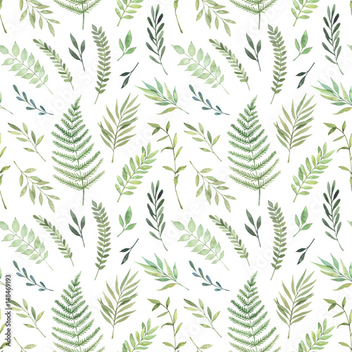 Hand drawn watercolor illustration. Botanical background with green leaves, branches and herbs. Floral Design elements. Perfect for wedding invitations, greeting cards, textiles, prints, posters - 148469193