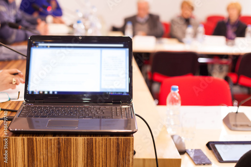 laptop in conference room
