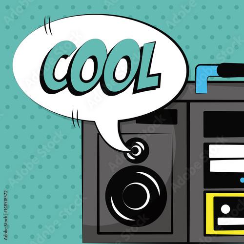 stereo radio bubble speech pop art vintage vector illustration