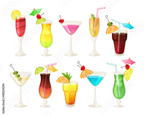 Tropical cocktails and juices set. Vector hand drawn illustration. Various isolated cocktail glass with beverages.