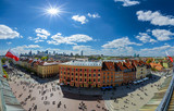 Panorama of Warsaw old and modern town. Poland