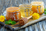 Buckwheat, linden and flower honey in glass jars. - 148530777