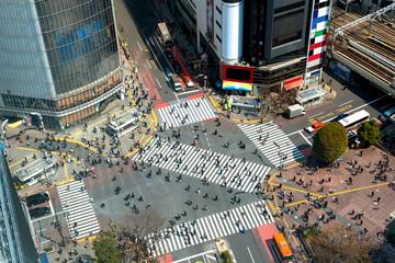 Tokyo, Japan view of Shibuya Crossing, one of the busiest crosswalks in Tokyo, Japan.