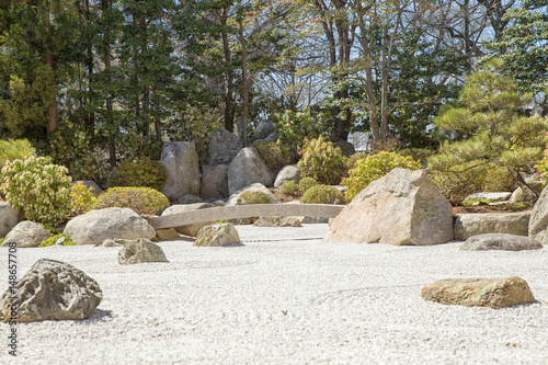 Japanese garden. background of a contemplative garden of stones