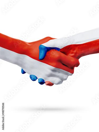 Poster Flags Monaco, Czech Republic countries, partnership friendship handshake concept