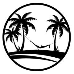 Sommer - Palmen mit Hängematte (Schwarz)