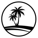 Sommer - Icon mit Palmen (Schwarz) - 148750198