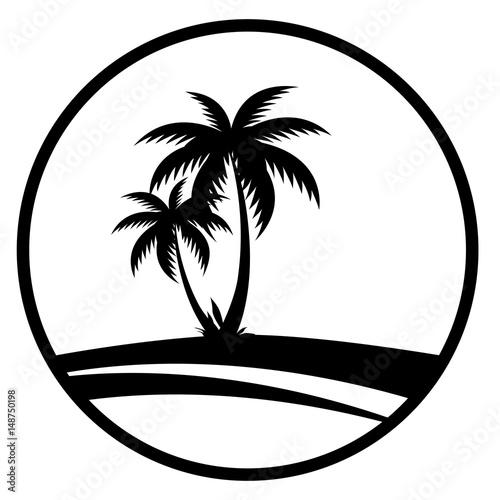 Sommer - Icon mit Palmen (Schwarz)
