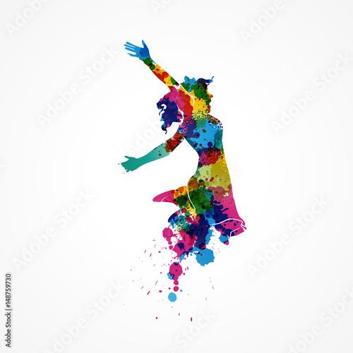 silhouette femme-saut peinture splash