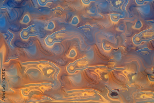 Abstract composition in blue, yellow and brown colors. Abstraction, texture, background