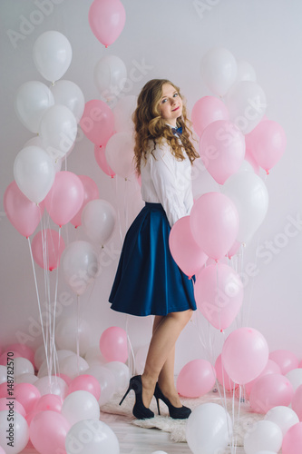Naughty girl with pink balls Poster