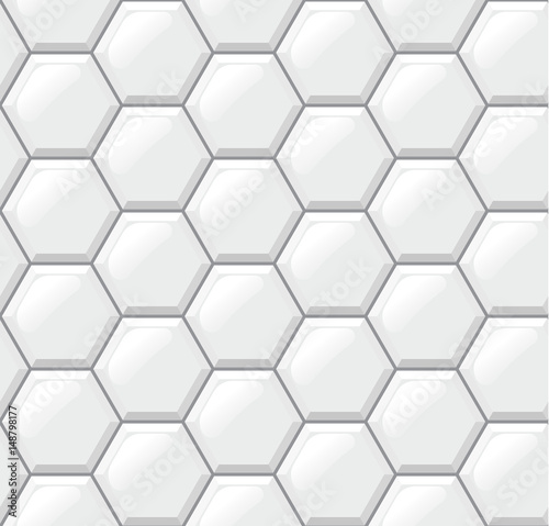 Fototapeta White tiles floor, hexagons, realistic seamless pattern. Vector illustration