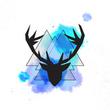 Deer head, abstract background with triangles. Vector illustration
