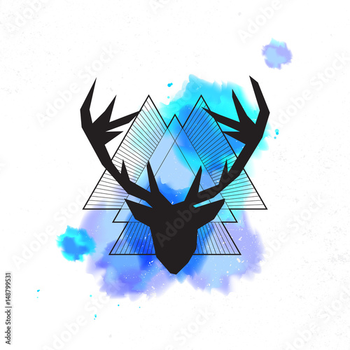 Fotobehang Hipster Hert Deer head, abstract background with triangles. Vector illustration