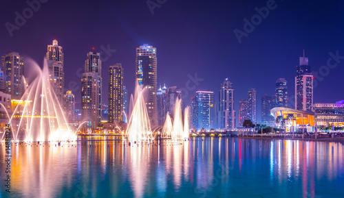 The Burj Khalifa lake with dancing fountain of Dubai, UAE