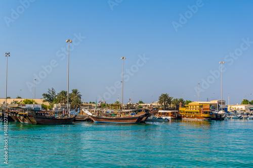 Keuken foto achterwand Schip View of a dhow port in Abu Dhabi, UAE
