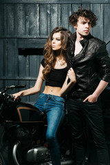 Biker couple of sexy girl and handsome man