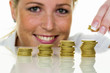 save woman with stack of coins in the money - 148817346