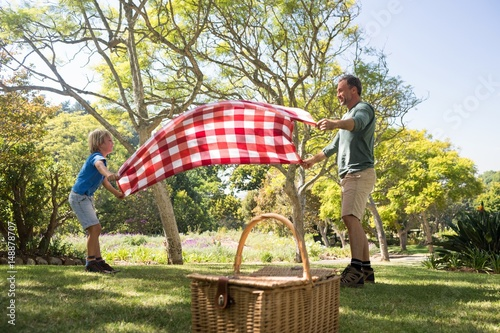 Father and son spreading the picnic blanket Poster