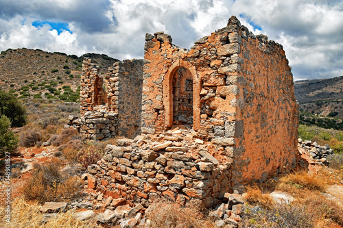 Ruins of historical windmills on the island of Crete in Greece