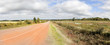 Red Sandstone road panorama on Prince Edward island, Canada.