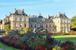 View on Luxembourg palace and garden, front view, paris city, france